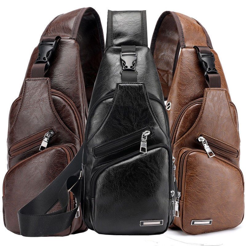 Men's CrossBody USB Charging Single Shoulder Backpack Sling Chest Bag Waterproof Black Brown Bags