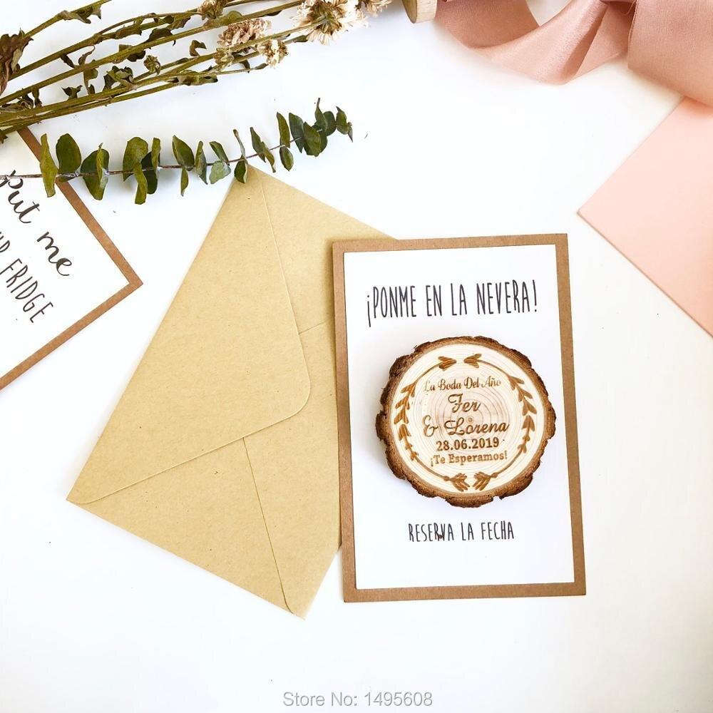 Economias de madeira da fatia a data, ímã do convite do casamento, favores do casamento, economias personalizadas o ímã da data, setas salvar a data
