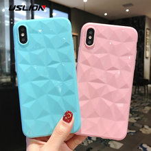 USLION Candy Color Phone Case for iPhone 7 6 6S 8 Plus 3D Diamond Pattern Clear Cover Capa For iPhone XS Max XR X Soft TPU Cases(China)