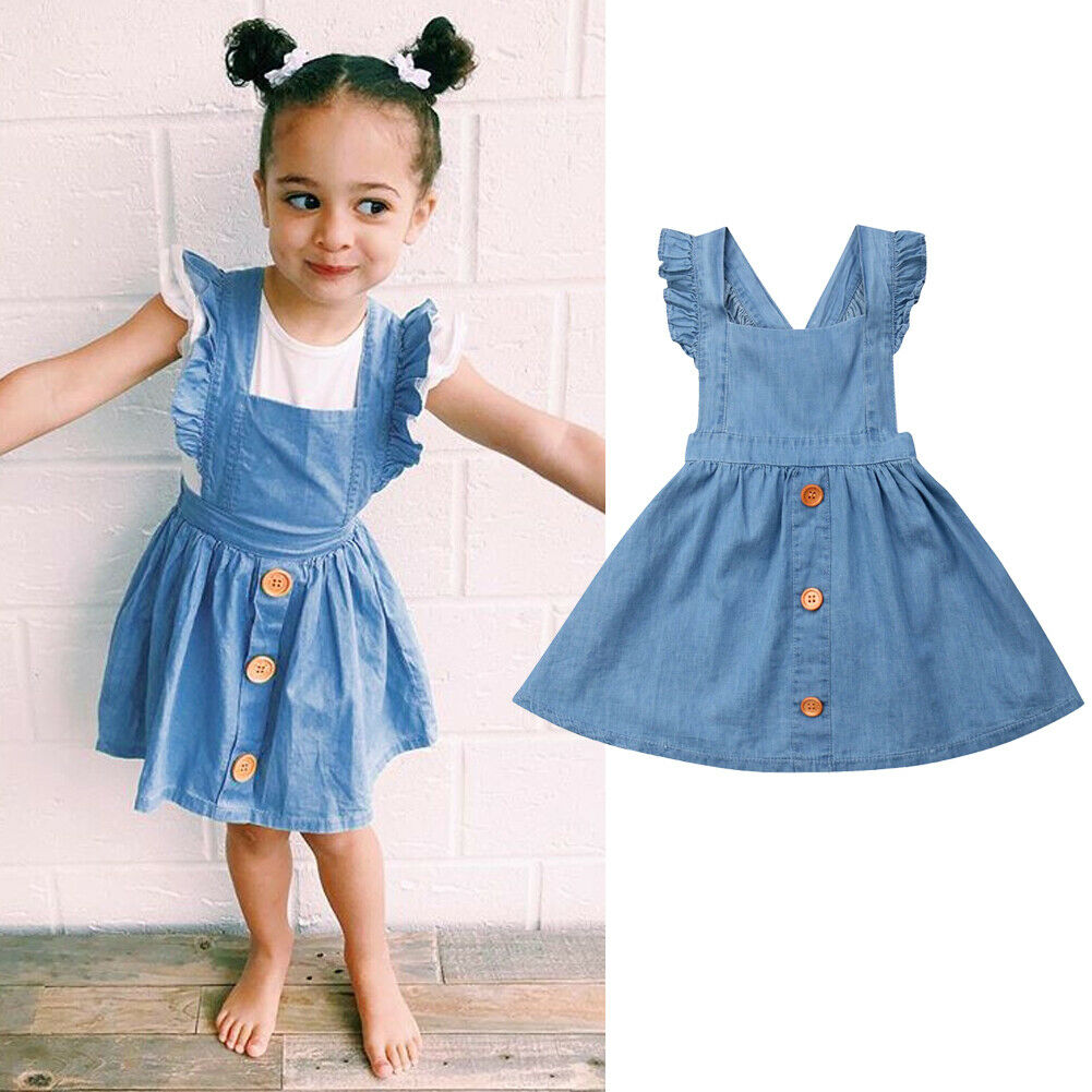 Summer Toddler Baby Girls Clothes Strap Princess Party Dress Solid Sundress US