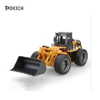 Pokich RC 1:18 Wheeled Front Loader Remote Control Bulldozer Truck 6 CH 2.4G Alloy Vehicle Tractor Toy with Lights kid's Gifts
