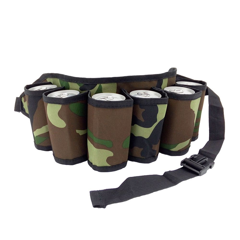 Beer Belt Soda 6-Can Holster Belt with Buckle, Beer Holder for Parties, Picnics, Camping, Hiking