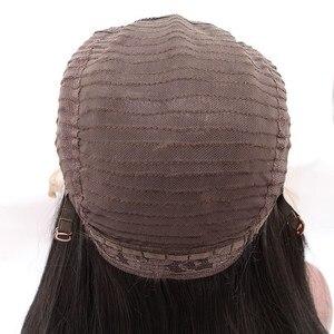 Image 5 - 爆弾ライトスカイブルー合成レースフロントショートボブウィッグかつら耐熱性繊維の毛中間仕切女性
