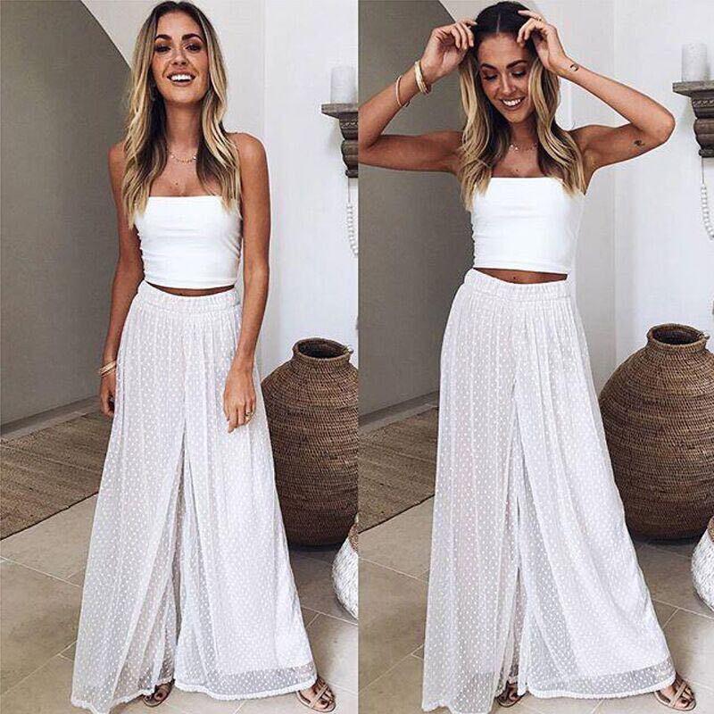 Women Casual Beach Pants High Waist Wide Leg Casual Crop Pants Summer Loose White Chiffon Dot Print Culottes Trousers