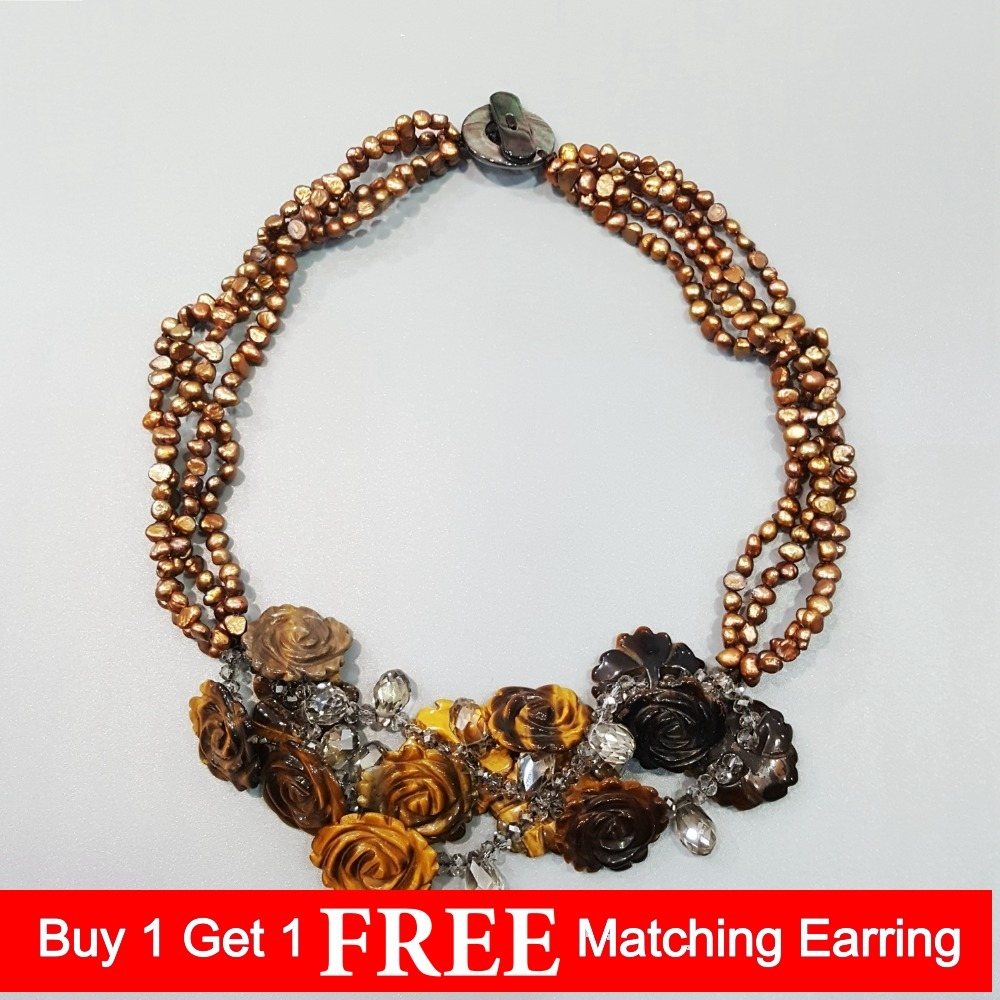 LiiJi Unique Natural Tiger s eye Flowers Freshwater Pearl Shell Clasp Statement Knitting Necklace For Women