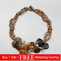LiiJi Unique Natural Tiger's eye Flowers Freshwater Pearl Shell Clasp Statement Knitting Necklace For Women Fashion Jewelry