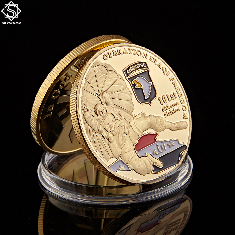 American 101St Airborne Division Air Force Gold Plated Coin 1.57*0.12 Operation Iraqi Freedom Souvenir US