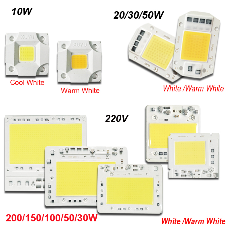 10/20/30/50/100/150/200W LED Lamp Integrated COB Chip AC 220V Smart IC Hight Power Outdoor Light Dirver For Floodlight White
