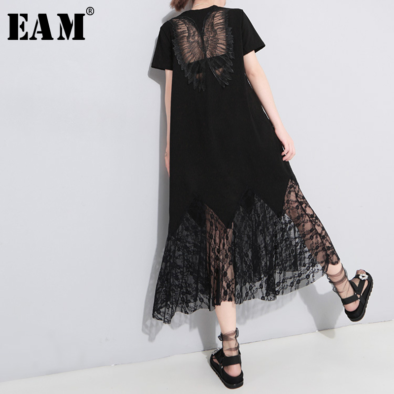 [EAM] 2020 New Spring Summer Round Neck Short Sleeve Black Lace Hollow Out Oose Long Temperament Dress Women Fashion Tide JU177