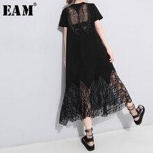 [EAM] vestido de primavera verano con cuello redondo, manga corta, encaje negro, temperamento largo, moda, JU177, 2020