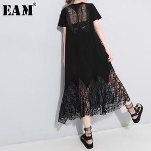 Image 1 - [EAM] vestido de primavera verano con cuello redondo, manga corta, encaje negro, temperamento largo, moda, JU177, 2020