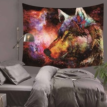 Night Guardian by JoJoesArt Tapestry Wolf And The New Moon Wall Hanging Animal Sheets Sky Bedding Home Decor 130x150cm