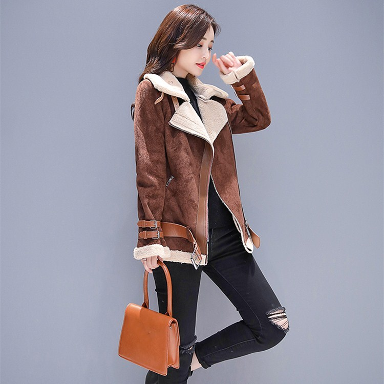 New Arrival Women Pockets Belt Outerwear Autumn Winter Turn Down Collar Coffee Jackets Casual Long Sleeve Zipper Warm Coats