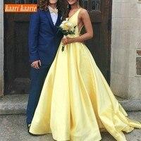 Роскошное желтое атласное свадебное платье с v образным вырезом и шлейфом длинное официальное вечернее свадебное платье 2019 на заказ сексуа