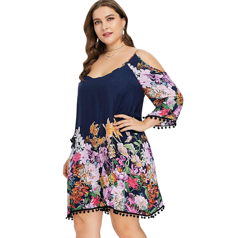 ... Top Dress Plus Size Casual Cold Shoulder Dress Women Clothing Spring  Spaghetti Strap Long Sleeve Dresses ... a90749a712a8