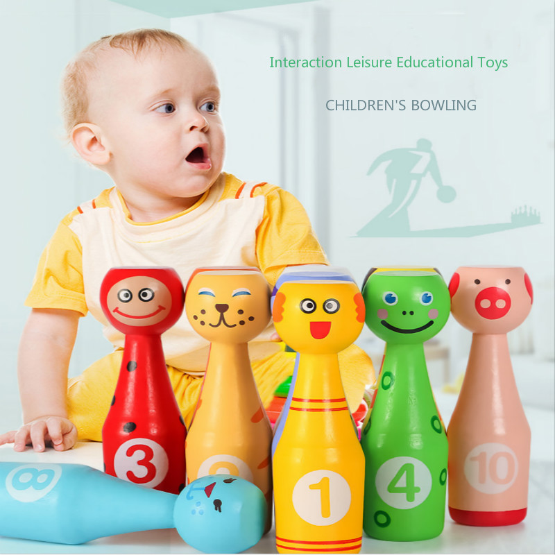 13pcs Cartoon Wooden Mini Baby Bowling Toys Kids Outdoors Toys Parent-child Interaction Games Educational Toys Baby Sports Gift