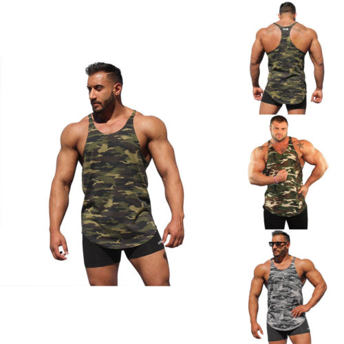 Camo Gym Men's Muscle Sleeveless   Tank     Top   Tee Shirt Bodybuilding Fitness Vest