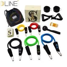 DLINE 11Pcs/Set Pilates Tubing Resistance Band Set Expanders Exercise Tubes Practical Strength  Crossfit Fitness Equipment