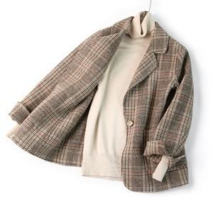 Image 5 - Женский шерстяной Блейзер 80% шерсть 20% полиэстер клетчатый офисный Женский блейзер на одной пуговице с двумя карманами куртки 2020 осенне зимнее шерстяное пальто