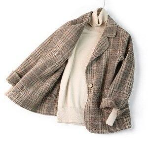 Image 5 - Women Wool Blazer 80%Wool 20%Poly Plaid Office Lady Blazer Single Button Two Pocket Jackets 2020 Autumn Winter Wool Coat