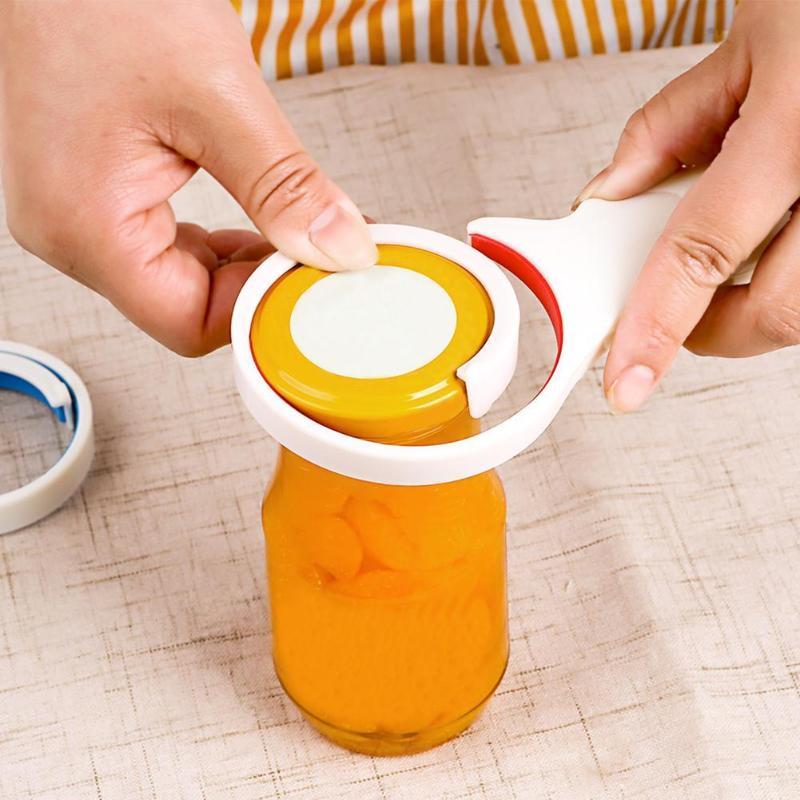 3 In 1 Plastic Jar Bottle Opener Wrench Beer Food Screw Cap Opener Anti-Slip Kitchen Handle Tool Accessories Random Color