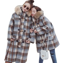 Women Winter Lattice Jacket Thick Coat Big Fur Collar Wool Blend Parka Horn Button Loose Overknee Cashmere Long Overcoat HJ09 недорого