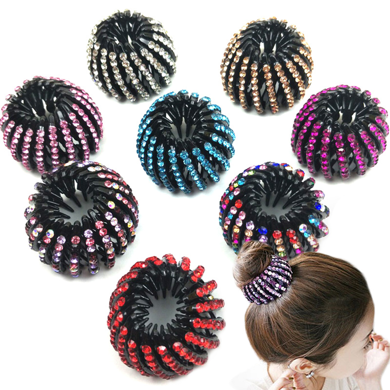 Curler Roller   Headwear   Ponytail Holder Crystal Children Girls Hair Device Bird's Nest 1PC 8 Colors Woman With Thin Hair