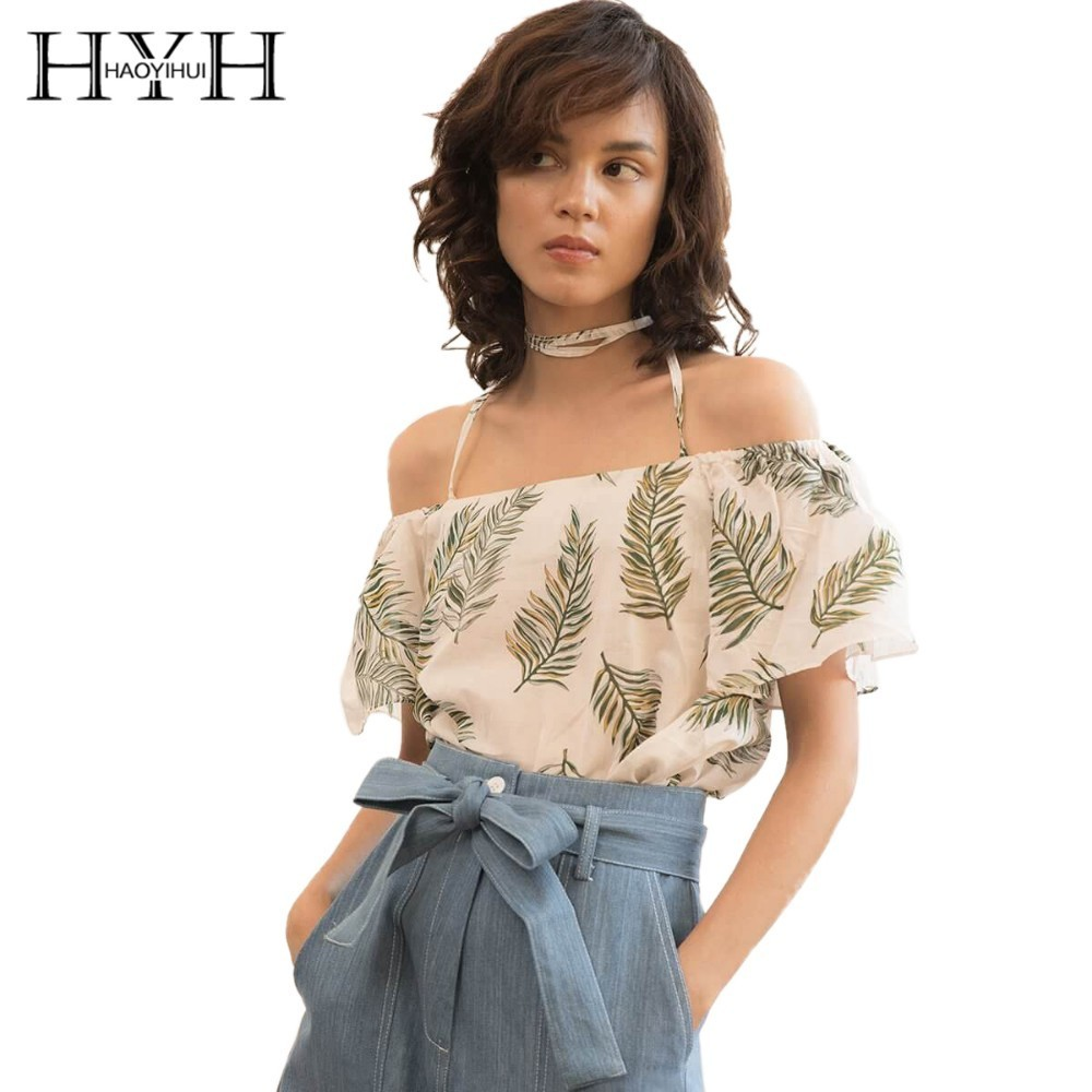 HYH HAOYIHUI 2019 New Girl Ins Wind Blouse Shoulder Strap Suspender Printing Short Sleeve
