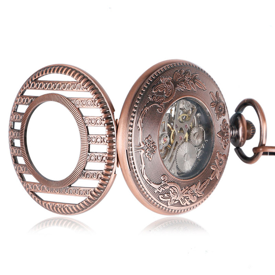 Купить с кэшбэком Rose Gold Hollow Half Hunter Mechanical Pocket Watch for Women Men Vintage Pocket Pendant Chain Roman Numeral Hand Winding Clock