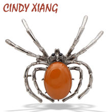 CINDY XIANG New 2018 Resin Spider Brooches for Women Fashion Vintage Insect Jewelry Halloween Bug Pin Jeans Accessories Gift(China)