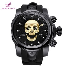 купить JIANGYUYAN Cool Big Dial 3D Skull Watch Men Gold Silicone Strap Wristwatch Mens Watches Top Brand Luxury Casual Quartz Clock Men по цене 1467.8 рублей