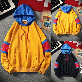Men Autumn Winter Hoodies Contrast Color Hooded Sweatshirt Outwear Sweat Shirt  Pullover Big Pocket Hoody Sweatshirt S-3XL