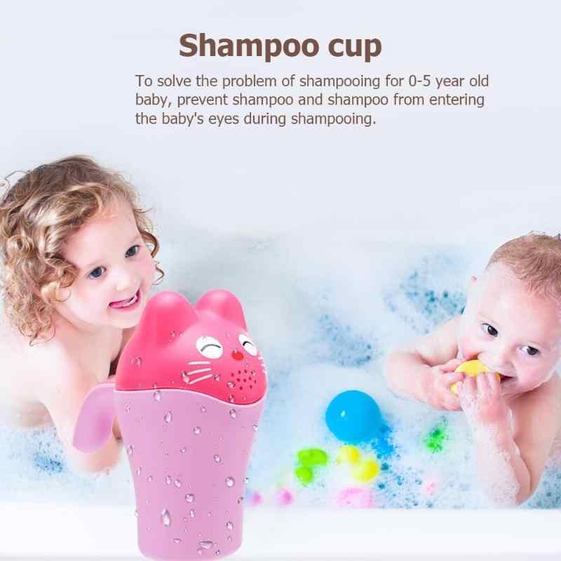 Infancy ซักผ้าผมขวดเครื่องมืออาบน้ำน่ารักการ์ตูนเด็กหมวกเด็กวัยหัดเดินแชมพูถ้วยเด็กชุดว่ายน้ำ Bailer Baby Shower ช้อน