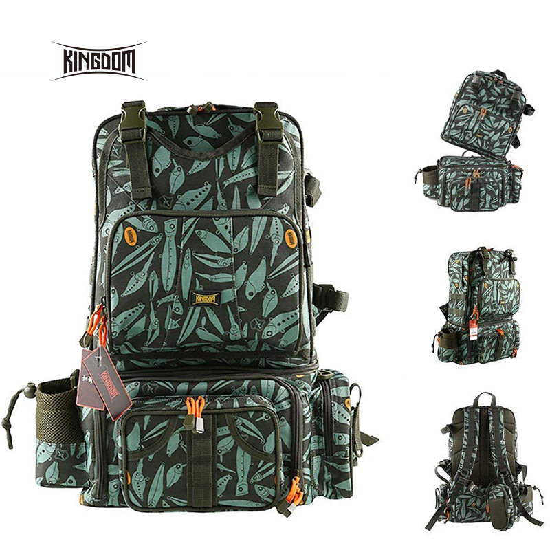 Kingdom 1000D Waterproof Nylon Multifunctional Fishing Tackle Backpack Detachable Combination Lure Backpacks Fishing Gear Bags