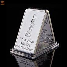 Eua estátua da liberdade moeda comemorativa estados unidos águia retângulo prata metal medalhão lembrança moeda token barra