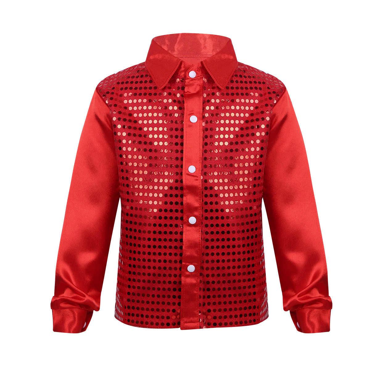 ... Boy Shirts for Children Boys Glittery Long Sleeve Shirt Kids Big Choir  Jazz Hip Hop Dance ... 6d5d359288b2