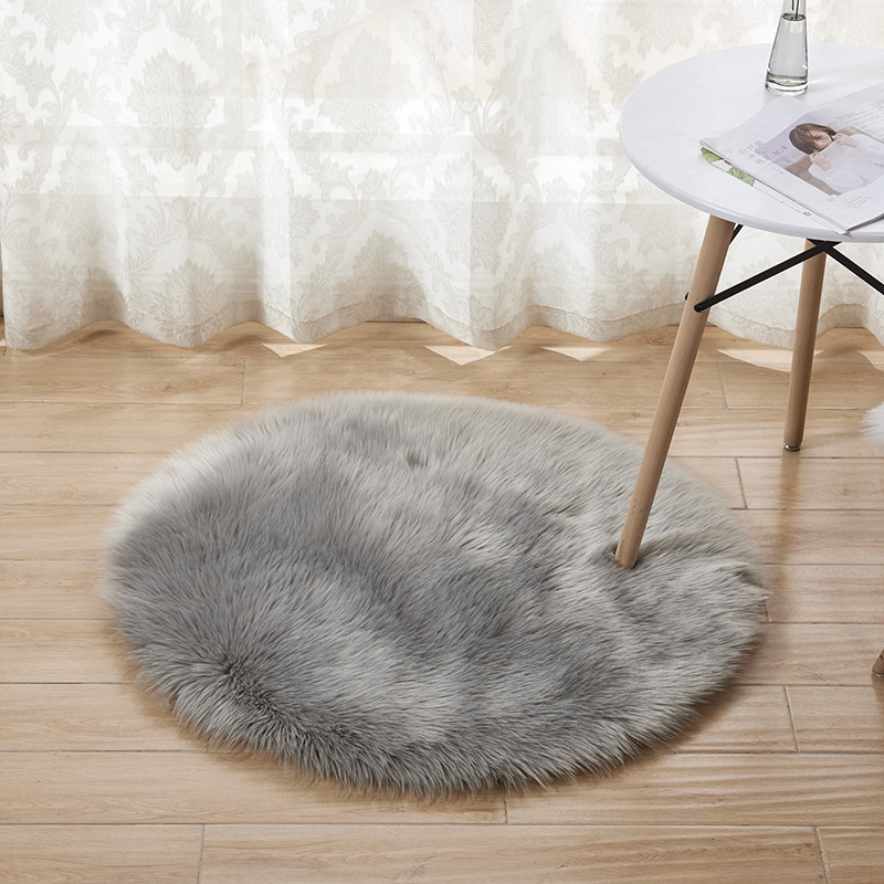 OHEART Faux Fur Round Carpet Luxury Artificial Sheepskin Hairy Soft Chair Seat Cover Mat Area Rug Living Bedroom Home Decoration
