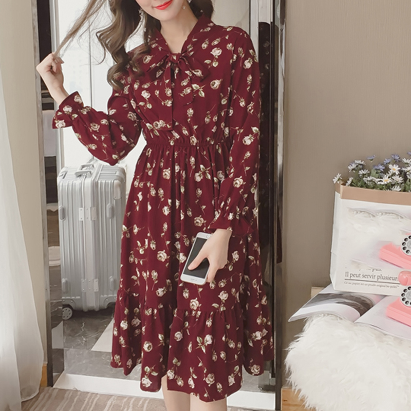 2019 Summer time Korean Chiffon Girls Costume Print Elegant Women Classic Lengthy Costume Boho Floral Workplace Lengthy Sleeve Vestidos Clothes Clothes, Low cost Clothes, 2019 Summer time Korean Chiffon...