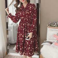 Sommer Koreanische Chiffon Frauen Kleid Elegante Damen Vintage Lange Kleid Boho Blumen Büro Langarm Vestidos Kleidung 5LYQ003