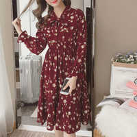 Summer Korean Chiffon Women Dress Elegant Ladies Vintage Long Dress Boho Floral Office Long Sleeve Vestidos Clothing 5LYQ003