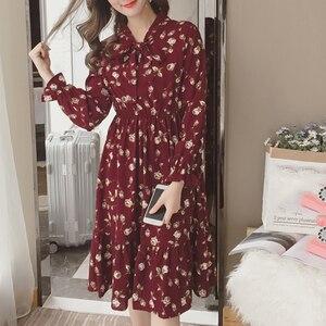 Image 1 - Summer Korean Chiffon Women Dress Elegant Ladies Vintage Long Dress Boho Floral Office Long Sleeve Vestidos Clothing 5LYQ003