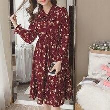 夏の韓国シフォン女性ドレスエレガントな女性のヴィンテージロング花オフィス長袖 Vestidos 服 5LYQ003