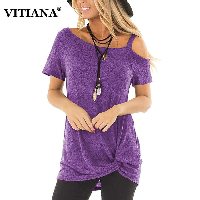 VITIANA Women Casual T-Shirt Tops Female 2019 Summer Short Sleeve Black Twisted fashion Tee Shirts Ladies Off Shoulder tshirt