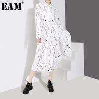 [EAM] 2019 New Spring Summer Lapel Long Sleeve White Loose Pattern Printed Loose Irregular Hem Shirt Dress Women Fashion JQ365
