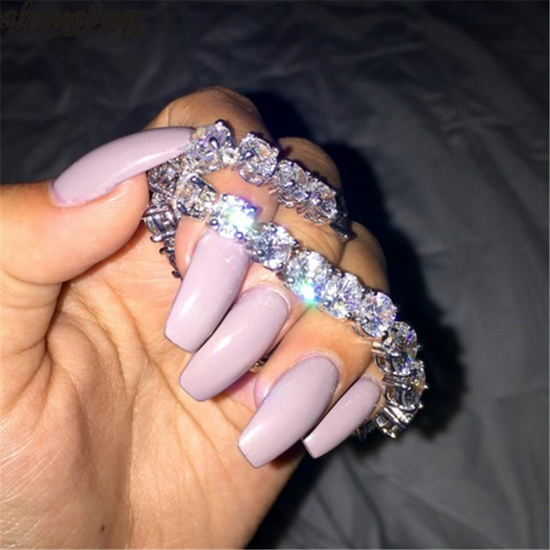 Vecalon Fashion Tennis Bracelet Round 8mm AAAAA Zircon Sona Cz White gold filled Engagement wedding Bracelets for women Jewelry
