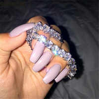 Vecalon Mode Tennis Bracelet Rond 8mm AAAAA Zircon Sona Cz or Blanc rempli de Fiançailles bracelets pour femme Bijoux