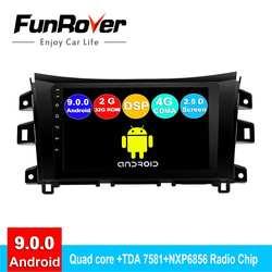 FUNROVER android 9,0 2din автомобильный dvd-проигрыватель с gps для Nissan Navara Frontier NP300 2011-2017 радио навигации навигационная система, стереомагнитола 2.5D DSP (9