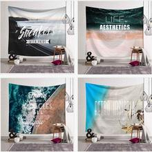 Retro Insignia Tapestry Miracle Wall Hanging Ocean Wave Picnic Mat Home Decoration Bedspread Large Polyester Beach Blanket Towel