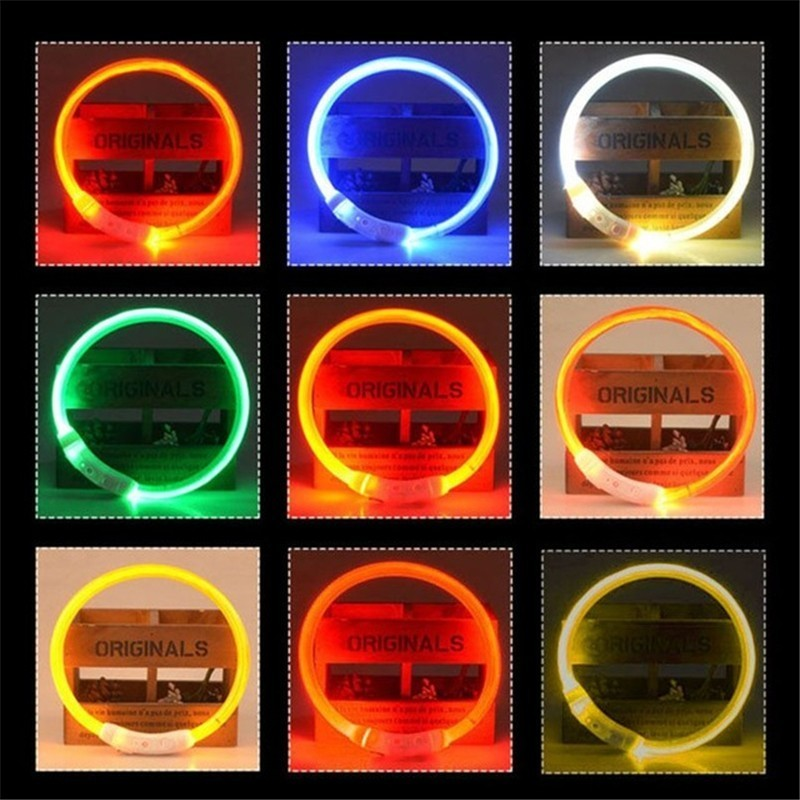 Pet Dog Collar Night Safety LED Flashing Rechargeable USB Dog Collar For Small Medium Large Dogs Halsband Hond Led in Collars from Home Garden