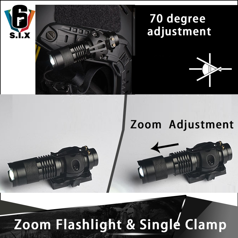 Element Airsoft Helmet Mini Telescopic Zoom Flashlight Tactical Flashlight Mount Single Clamp